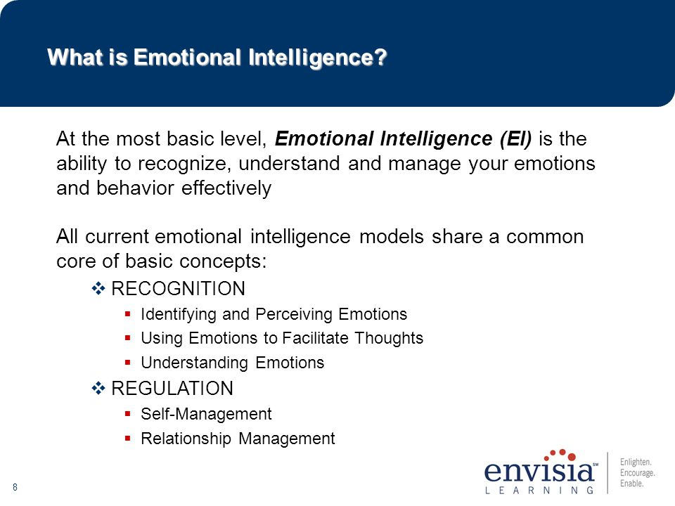 8 At the most basic level, Emotional Intelligence (EI) is the ability to recognize, understand and manage your emotions and behavior effectively What is Emotional Intelligence.