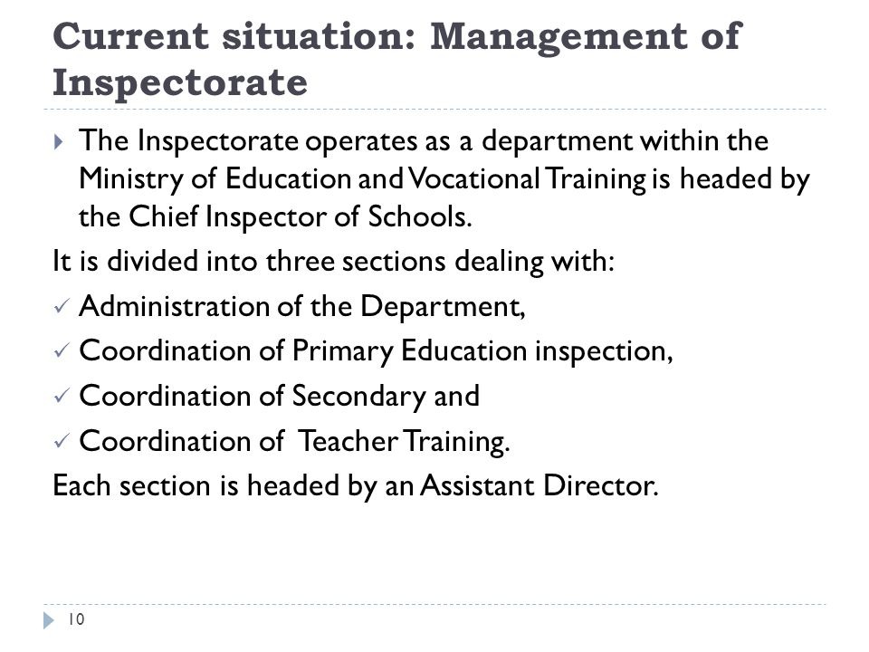 Current situation: Management of Inspectorate  The Inspectorate operates as a department within the Ministry of Education and Vocational Training is headed by the Chief Inspector of Schools.
