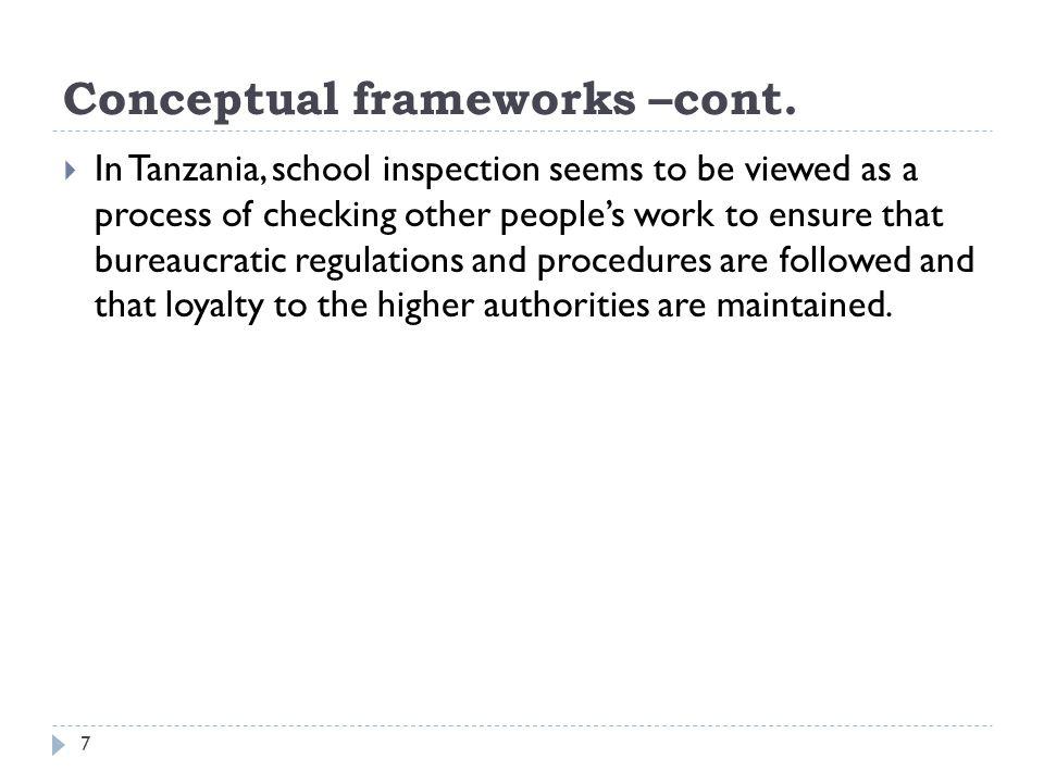 Conceptual frameworks –cont.