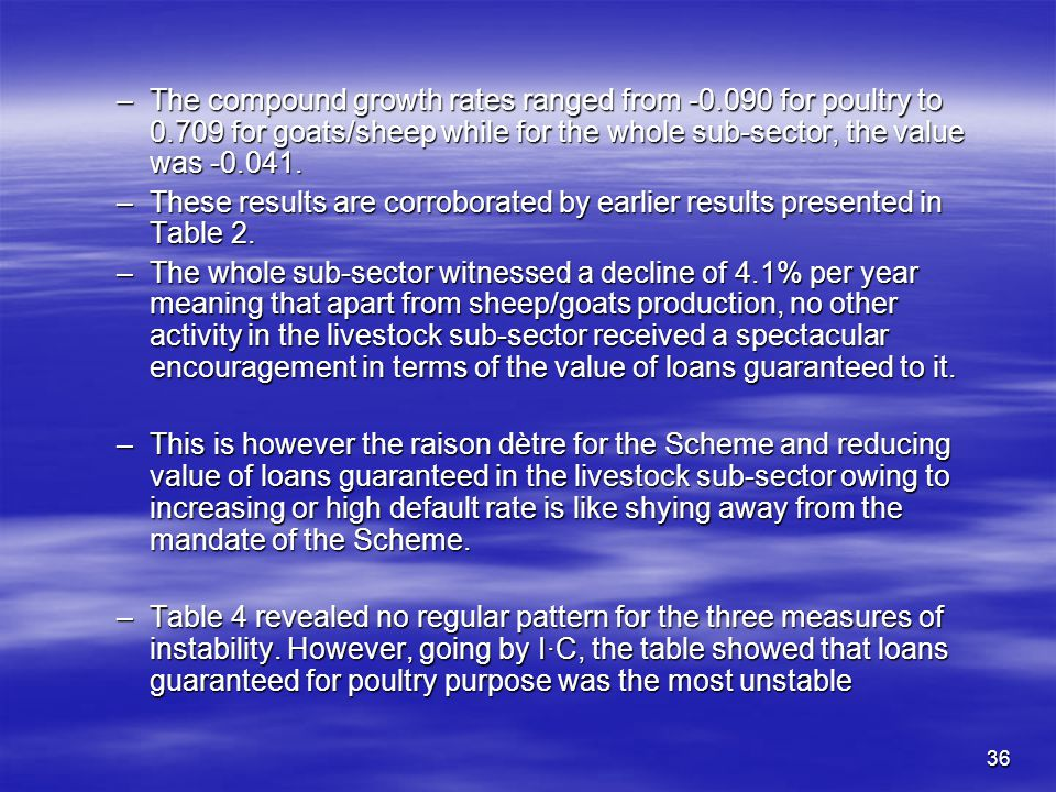 35 Table 4: Indices of Growth Rate and Instability in the Value of Guaranteed Livestock Sub-sector Loans.