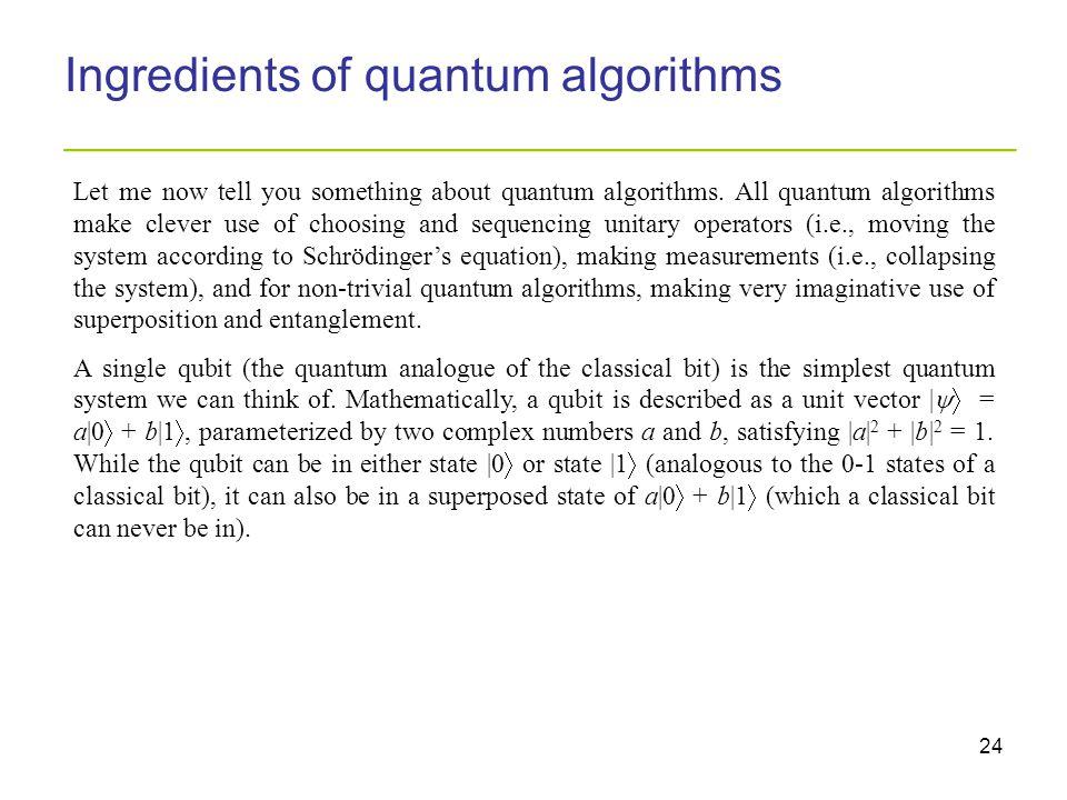 24 Ingredients of quantum algorithms _________________________________________ Let me now tell you something about quantum algorithms.