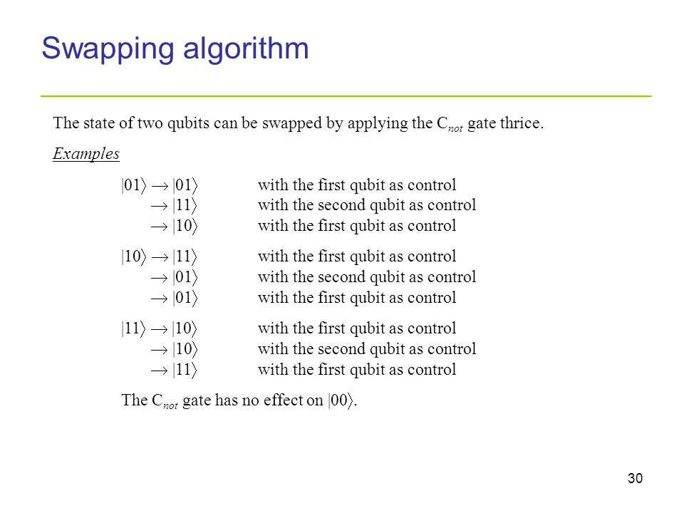 30 Swapping algorithm _________________________________________ The state of two qubits can be swapped by applying the C not gate thrice. Examples |01