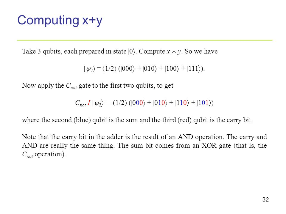 32 Computing x+y _________________________________________ Take 3 qubits, each prepared in state |0 . Compute x  y. So we have |  2  = (1/2) (|000