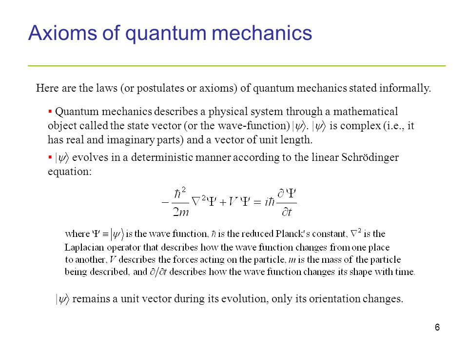 6 Axioms of quantum mechanics _________________________________________  Quantum mechanics describes a physical system through a mathematical object called the state vector (or the wave-function) | .