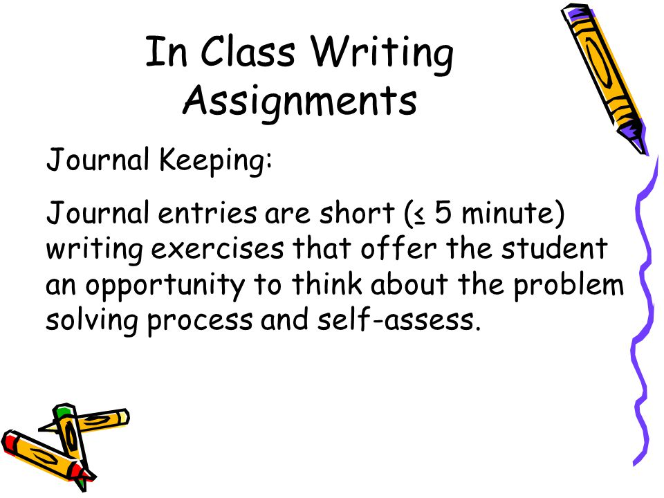 Journal Keeping: Journal entries are short (≤ 5 minute) writing exercises that offer the student an opportunity to think about the problem solving process and self-assess.