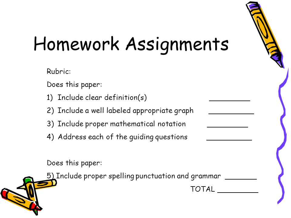 Homework Assignments Rubric: Does this paper: 1)Include clear definition(s) _________ 2)Include a well labeled appropriate graph __________ 3)Include proper mathematical notation _________ 4)Address each of the guiding questions __________ Does this paper: 5) Include proper spelling punctuation and grammar _______ TOTAL _________