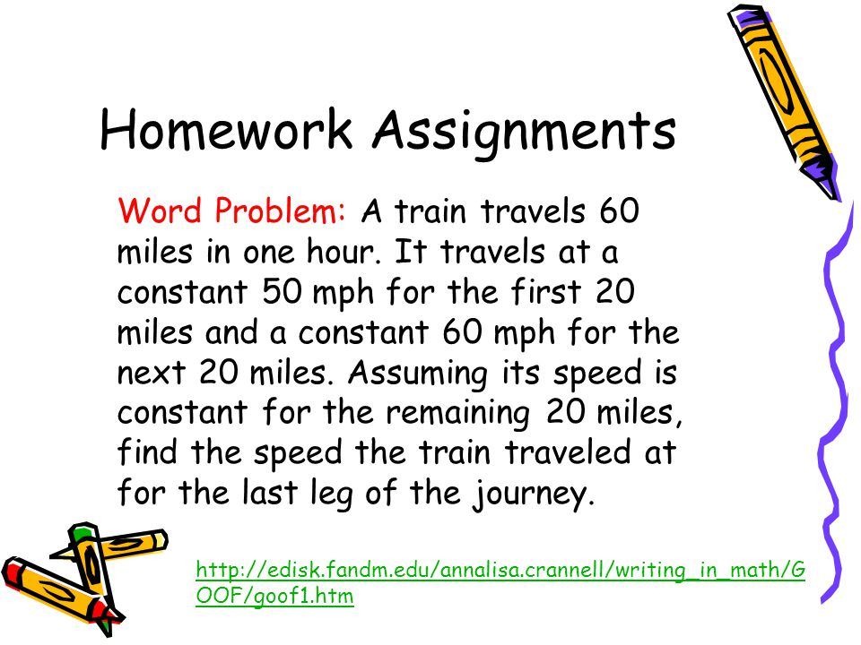 Homework Assignments http://edisk.fandm.edu/annalisa.crannell/writing_in_math/G OOF/goof1.htm Word Problem: A train travels 60 miles in one hour.