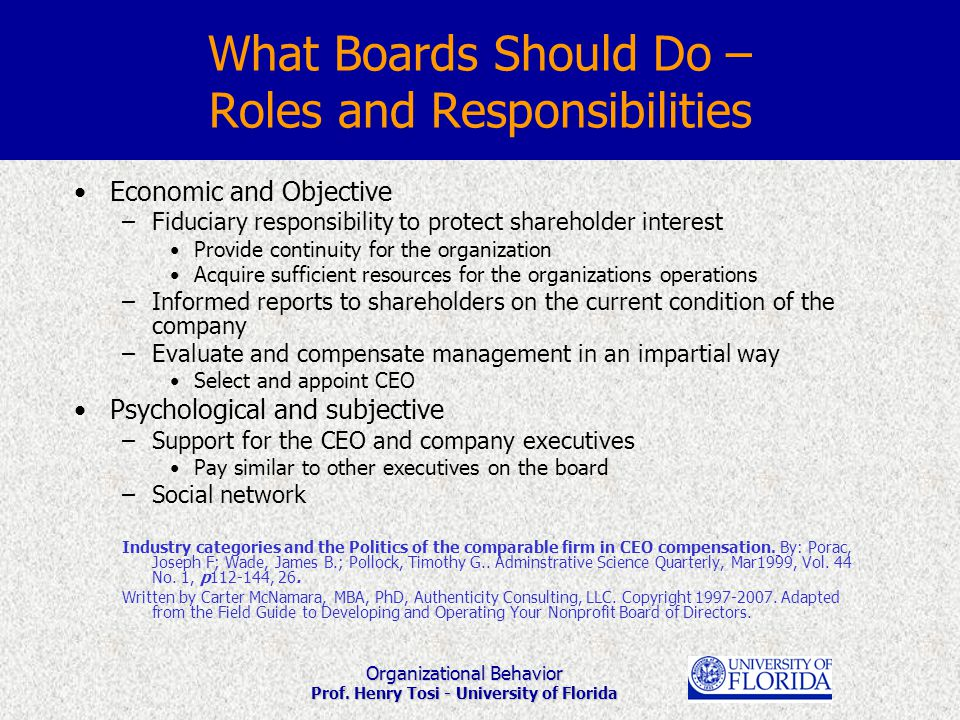 Organizational Behavior Prof. Henry Tosi - University of Florida Economic and Objective –Fiduciary responsibility to protect shareholder interest Prov