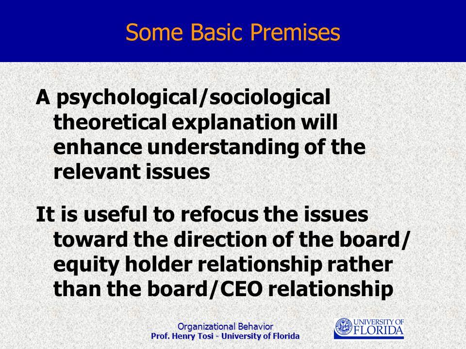 Organizational Behavior Prof. Henry Tosi - University of Florida