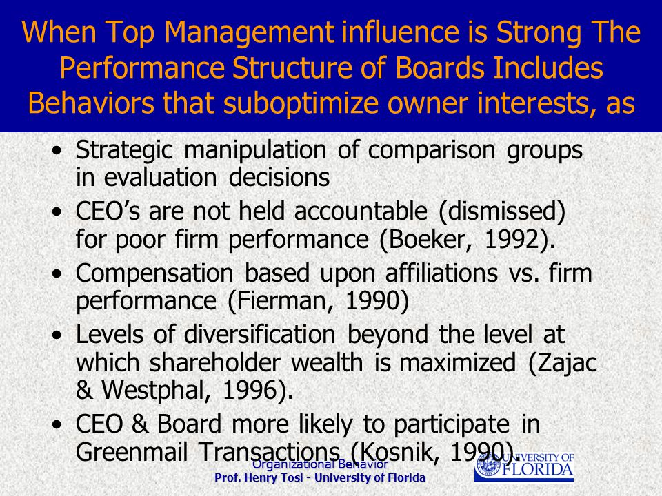 Organizational Behavior Prof. Henry Tosi - University of Florida When Top Management influence is Strong The Performance Structure of Boards Includes