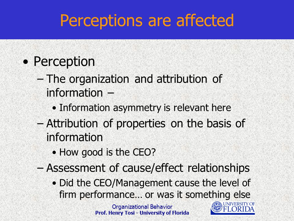 Organizational Behavior Prof. Henry Tosi - University of Florida Perceptions are affected Perception –The organization and attribution of information