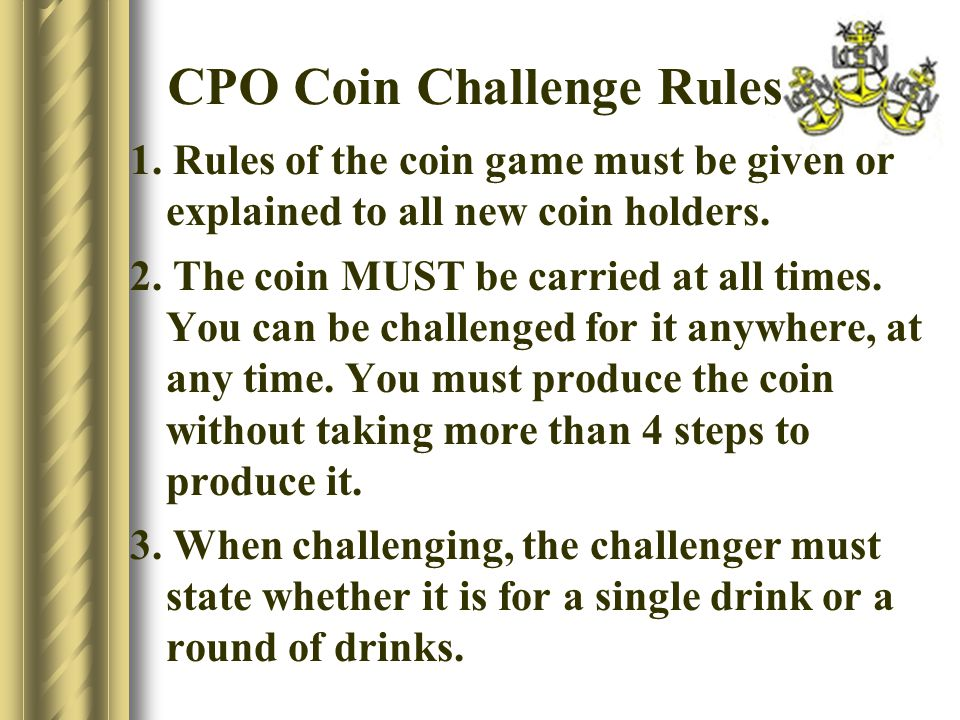 CPO Coin Challenge Rules 1.