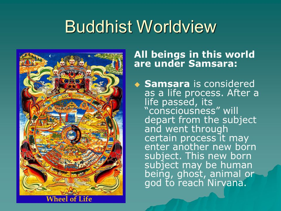 Buddhist Worldview All beings in this world are under Samsara:   Previous life's Karma determined this current life situation   Current life is an Outcomes of previous life & determine the future life as Person, ghost, or animal   Future life is contingent upon the karma created in the current life   Nirvana: out of cycle of Samsara.