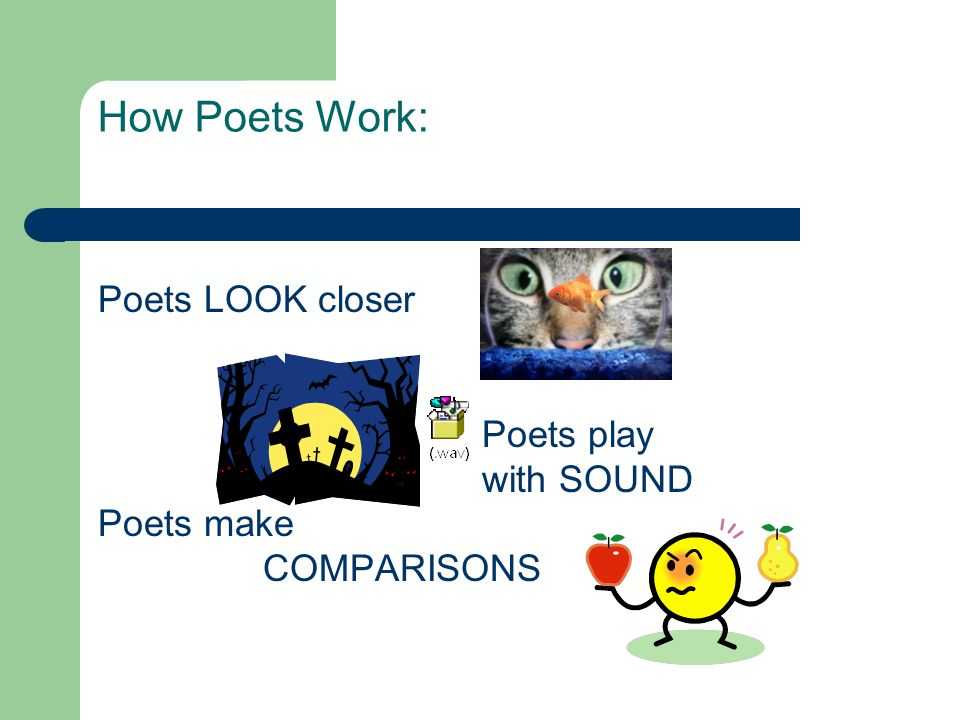 How Poets Work: Poets LOOK closer Poets play with SOUND Poets make COMPARISONS