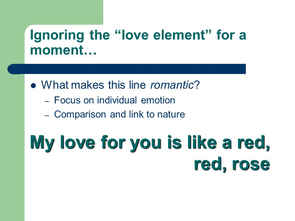 Ignoring the love element for a moment… What makes this line romantic.