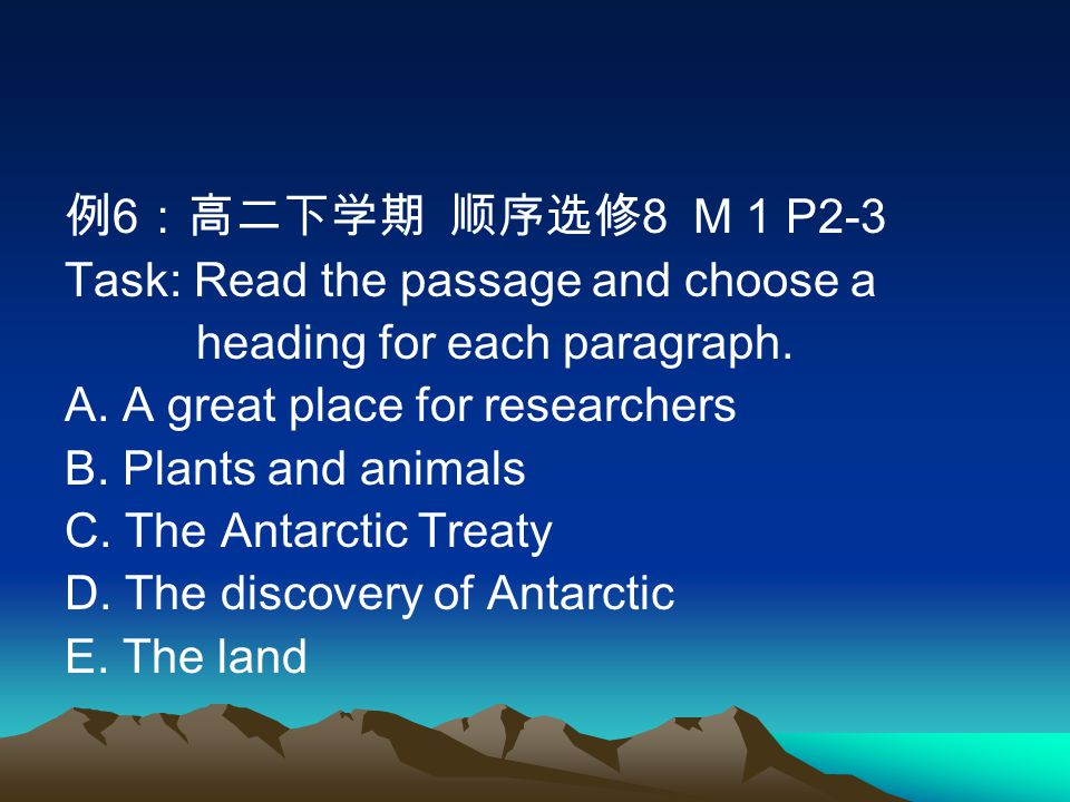 例 6 :高二下学期 顺序选修 8 M 1 P2-3 Task: Read the passage and choose a heading for each paragraph.