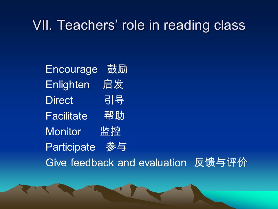 VII. Teachers' role in reading class Encourage 鼓励 Enlighten 启发 Direct 引导 Facilitate 帮助 Monitor 监控 Participate 参与 Give feedback and evaluation 反馈与评价