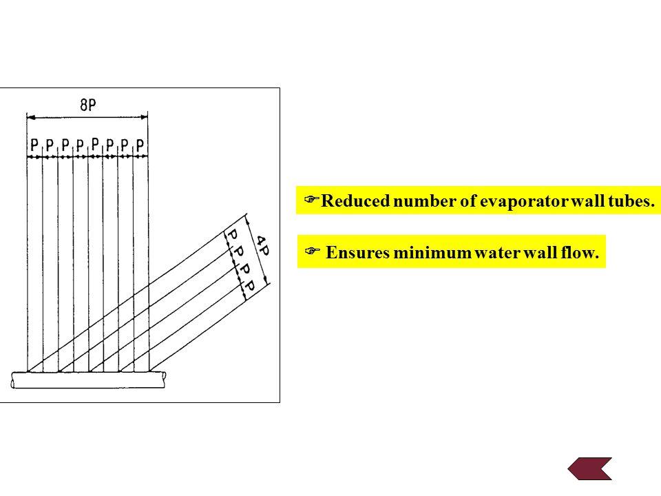  Reduced number of evaporator wall tubes.  Ensures minimum water wall flow.
