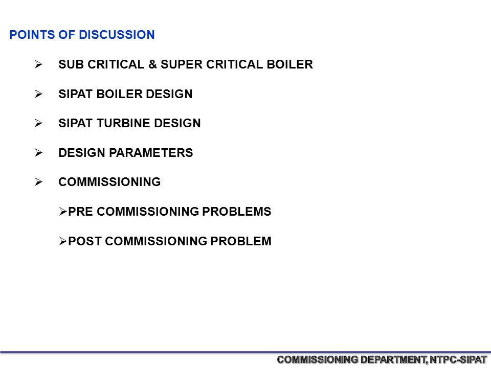 POINTS OF DISCUSSION  SUB CRITICAL & SUPER CRITICAL BOILER  SIPAT BOILER DESIGN  SIPAT TURBINE DESIGN  DESIGN PARAMETERS  COMMISSIONING  PRE COM