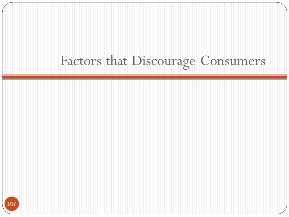 Factors that Discourage Consumers 107