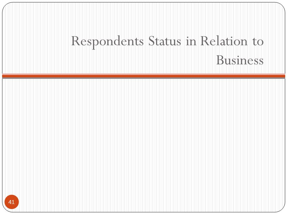 Respondents Status in Relation to Business 41