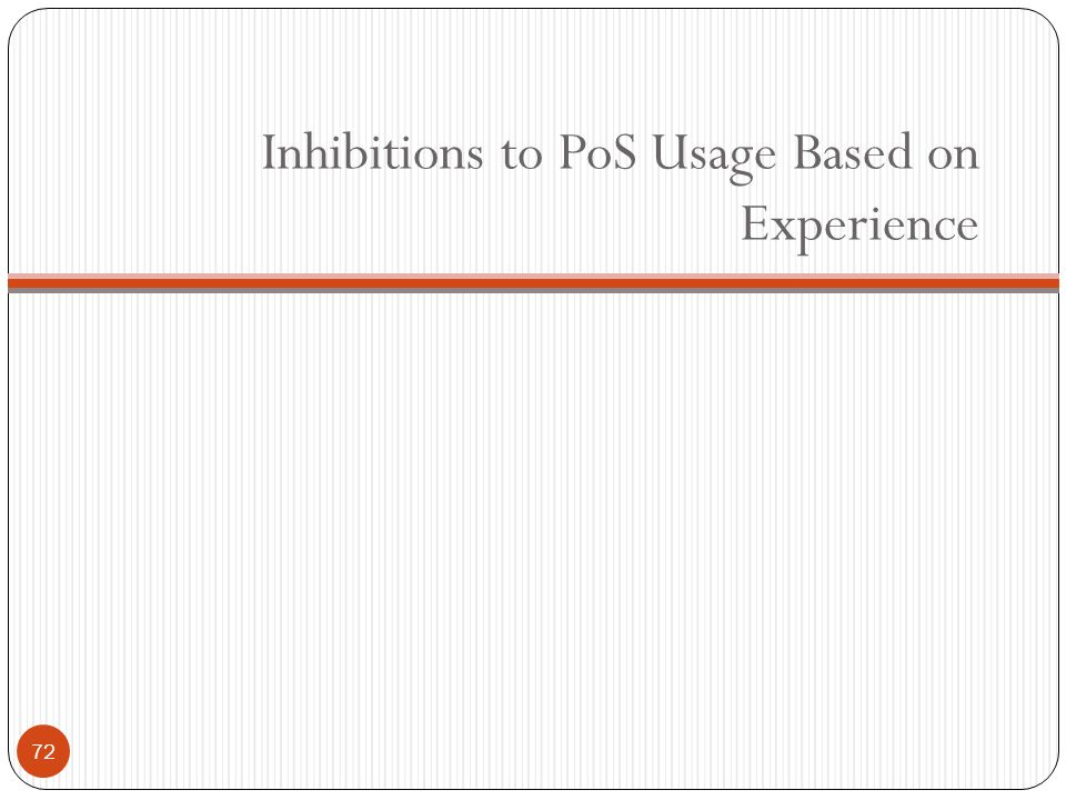 Inhibitions to PoS Usage Based on Experience 72