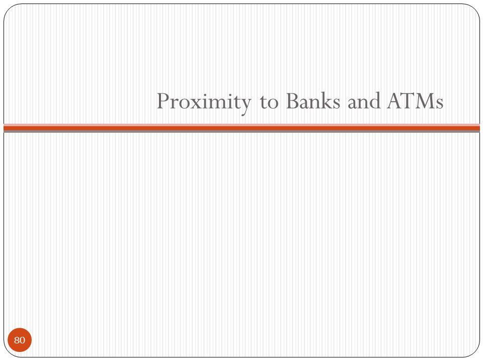 Proximity to Banks and ATMs 80