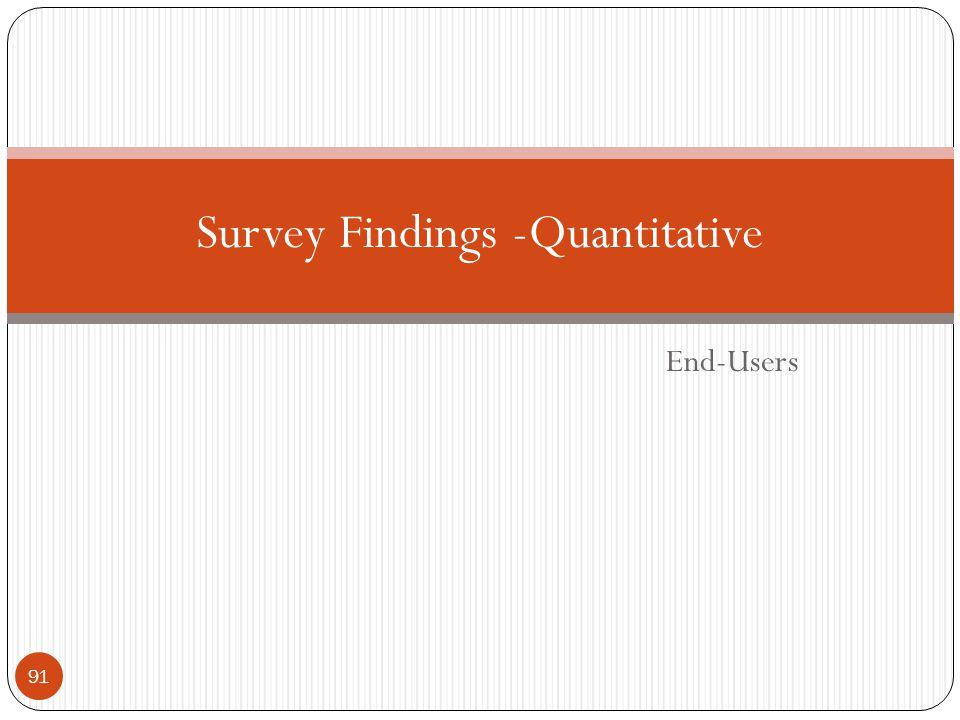 End-Users Survey Findings -Quantitative 91