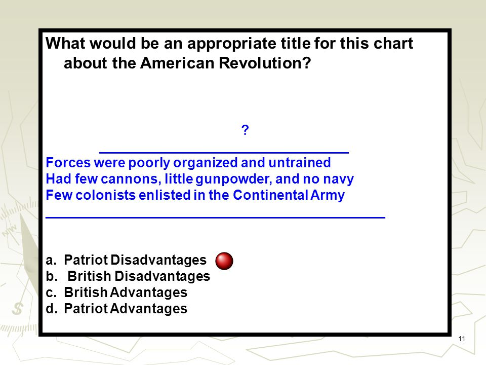 11 What would be an appropriate title for this chart about the American Revolution.