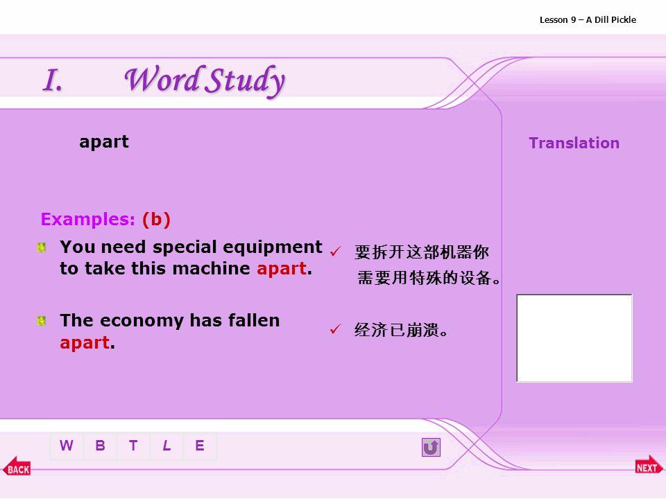 BTLEW Lesson 9 – A Dill Pickle IV.Grammar c.predicative : be + reflective pronoun ( 身心健康 ) I am glad that you are yourself again.