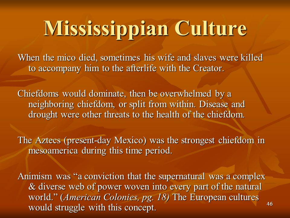 46 Mississippian Culture When the mico died, sometimes his wife and slaves were killed to accompany him to the afterlife with the Creator. Chiefdoms w