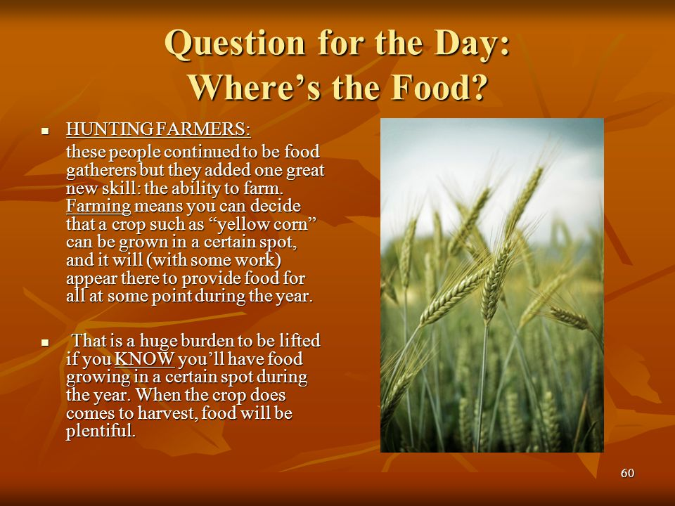 60 Question for the Day: Where's the Food? HUNTING FARMERS: HUNTING FARMERS: these people continued to be food gatherers but they added one great new