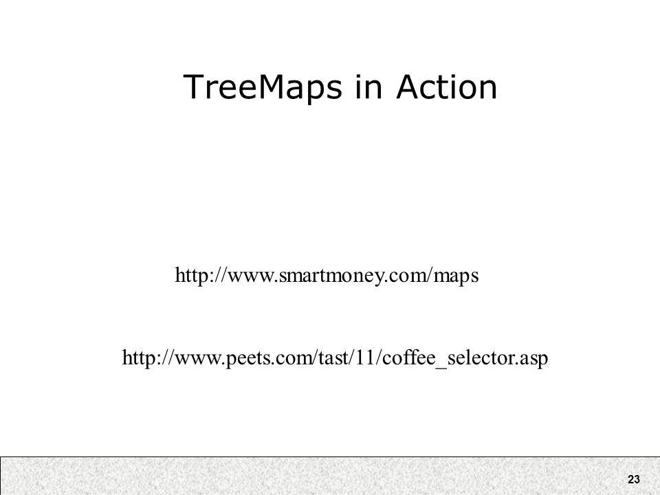 23 TreeMaps in Action http://www.smartmoney.com/maps http://www.peets.com/tast/11/coffee_selector.asp