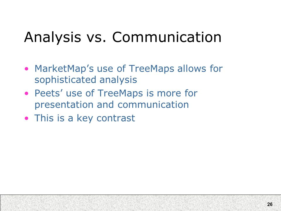 26 Analysis vs. Communication MarketMap's use of TreeMaps allows for sophisticated analysis Peets' use of TreeMaps is more for presentation and commun