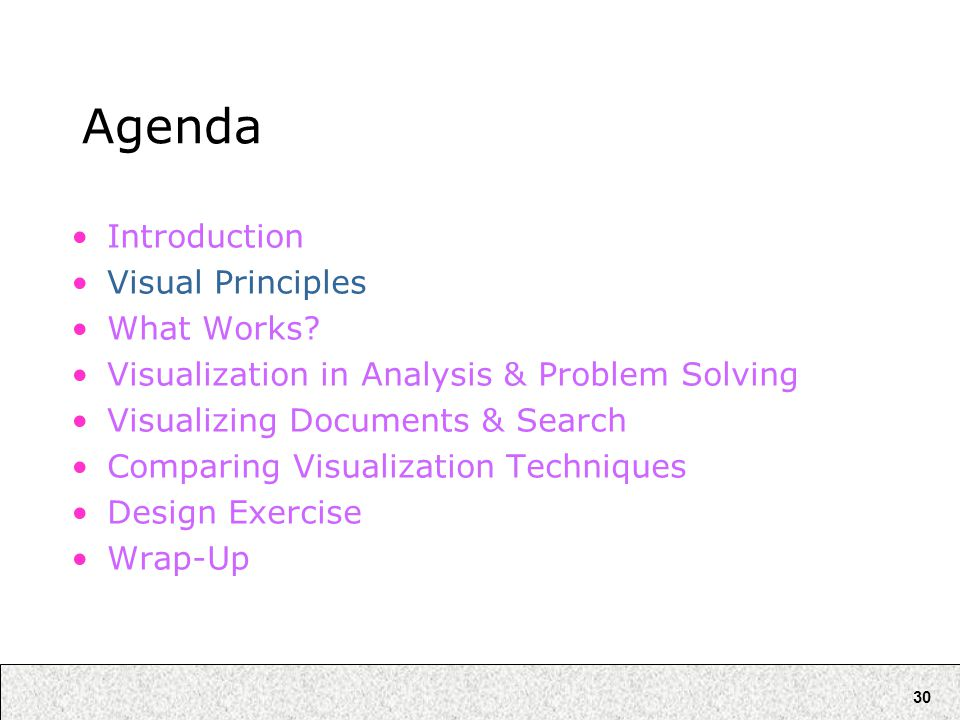 30 Agenda Introduction Visual Principles What Works? Visualization in Analysis & Problem Solving Visualizing Documents & Search Comparing Visualizatio