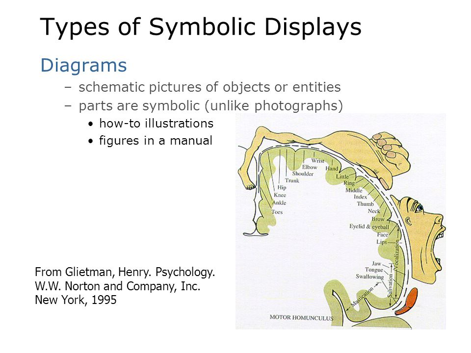 Types of Symbolic Displays Diagrams –schematic pictures of objects or entities –parts are symbolic (unlike photographs) how-to illustrations figures i