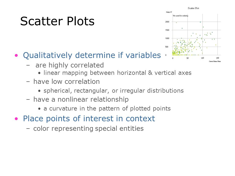 Scatter Plots Qualitatively determine if variables – are highly correlated linear mapping between horizontal & vertical axes –have low correlation sph