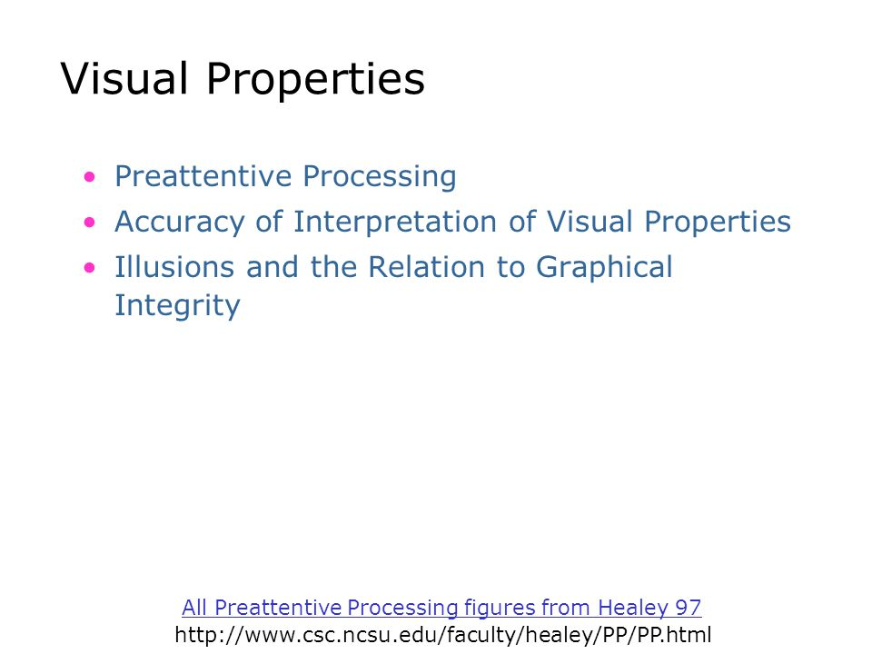 Visual Properties Preattentive Processing Accuracy of Interpretation of Visual Properties Illusions and the Relation to Graphical Integrity All Preatt