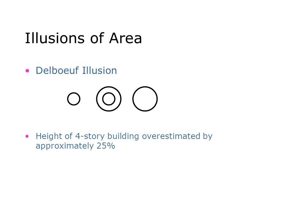 Illusions of Area Delboeuf Illusion Height of 4-story building overestimated by approximately 25%