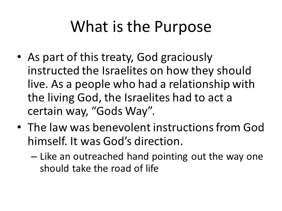 What is the Purpose As part of this treaty, God graciously instructed the Israelites on how they should live.
