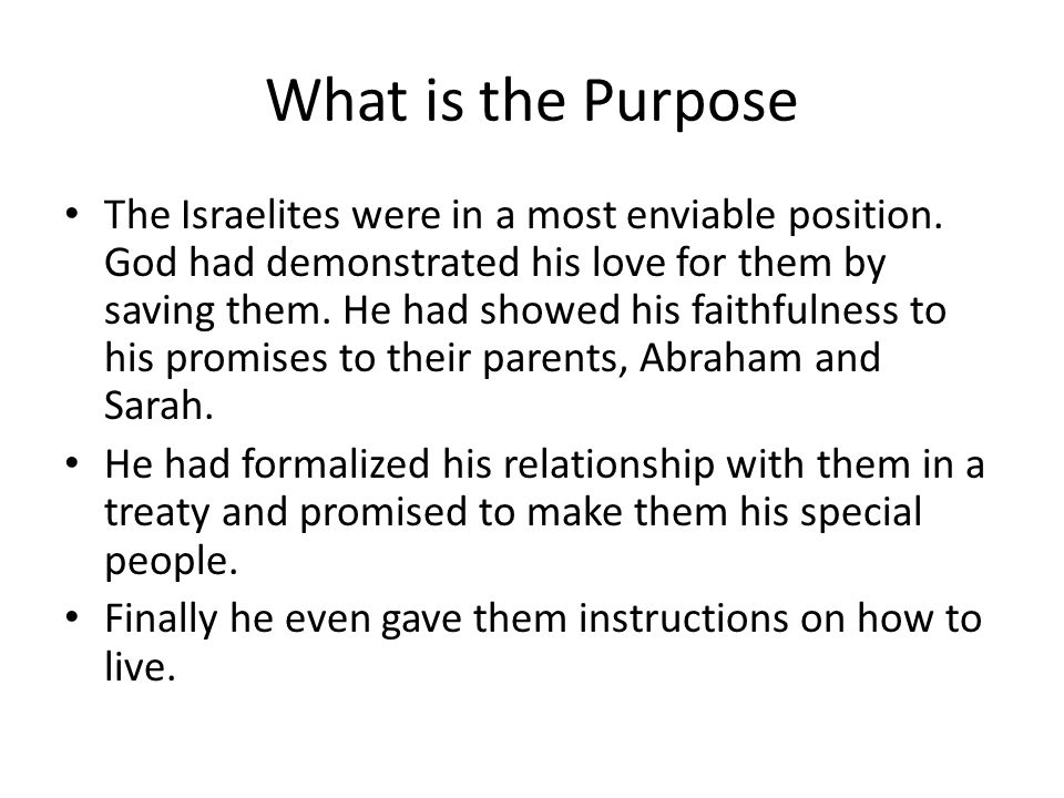 What is the Purpose The Israelites were in a most enviable position.