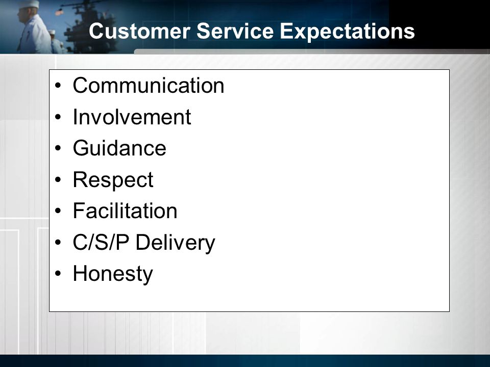 Communication Involvement Guidance Respect Facilitation C/S/P Delivery Honesty Customer Service Expectations