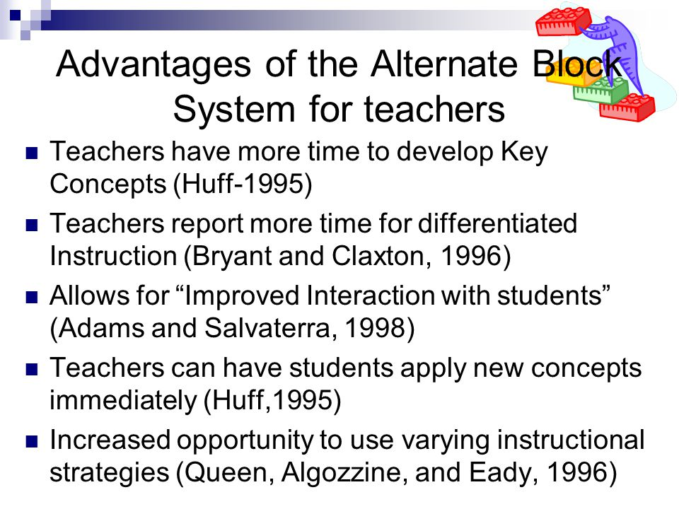 Advantages of the Alternate Block System for teachers Teachers have more time to develop Key Concepts (Huff-1995) Teachers report more time for differentiated Instruction (Bryant and Claxton, 1996) Allows for Improved Interaction with students (Adams and Salvaterra, 1998) Teachers can have students apply new concepts immediately (Huff,1995) Increased opportunity to use varying instructional strategies (Queen, Algozzine, and Eady, 1996)