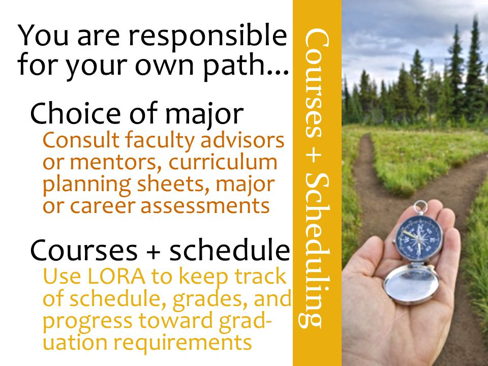 Courses + Scheduling You are responsible for your own path...