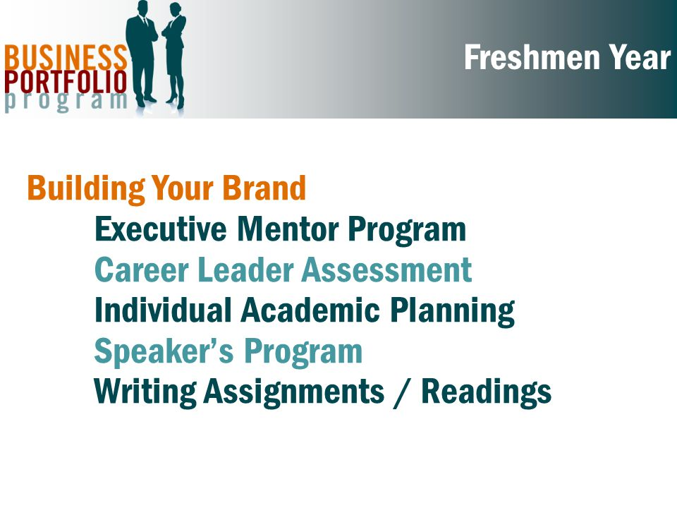 Sophomore Year Marketing Your Experience Resume and Cover Letter Workshops Individual Mock Interview Coaching Career Panel Workshops Develop an Internship Plan Informational Interview Assignment