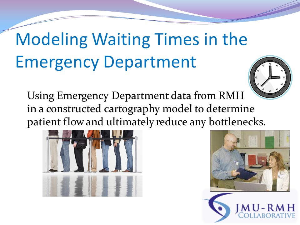 Modeling Waiting Times in the Emergency Department Using Emergency Department data from RMH in a constructed cartography model to determine patient flow and ultimately reduce any bottlenecks.