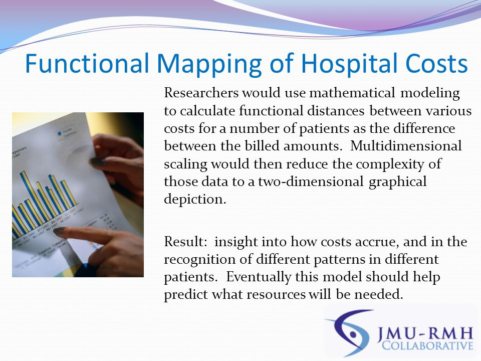 Functional Mapping of Hospital Costs Researchers would use mathematical modeling to calculate functional distances between various costs for a number of patients as the difference between the billed amounts.