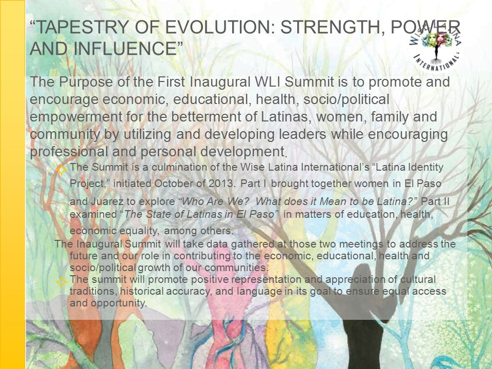"""TAPESTRY OF EVOLUTION: STRENGTH, POWER AND INFLUENCE"" The Purpose of the First Inaugural WLI Summit is to promote and encourage economic, educational"