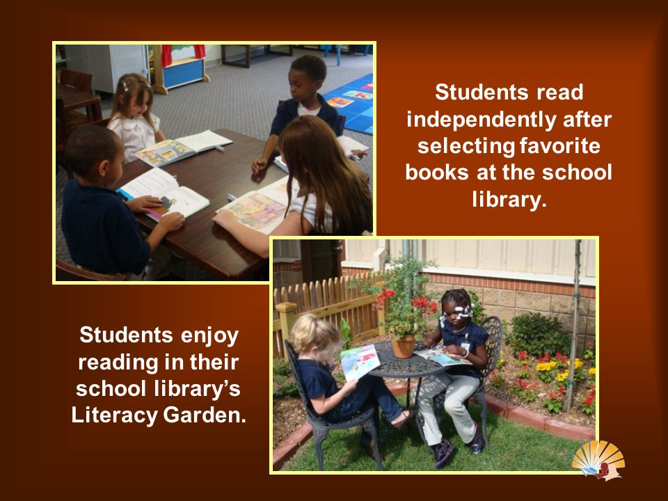 Students read independently after selecting favorite books at the school library.