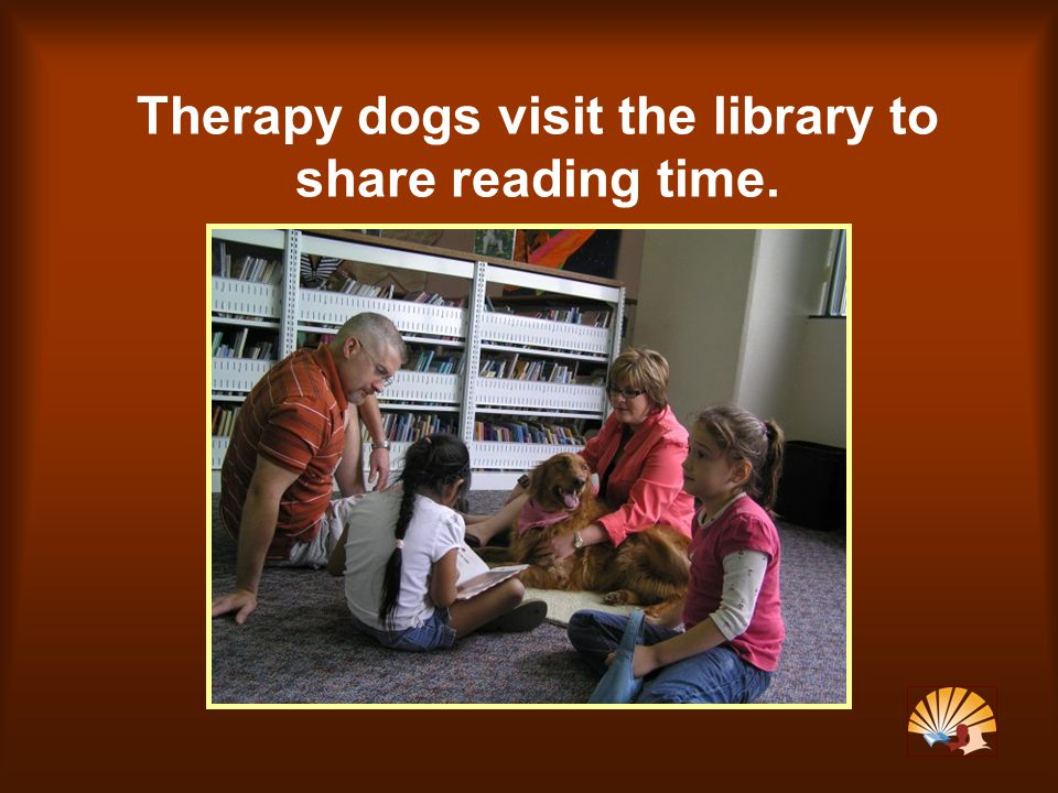 Therapy dogs visit the library to share reading time.